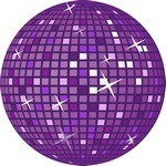 Purple Retro Disco Ball Vector Art